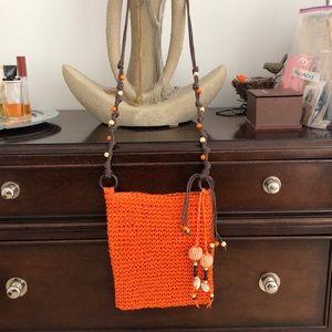 Handbags - ORANGE STRAW CROSSBODY